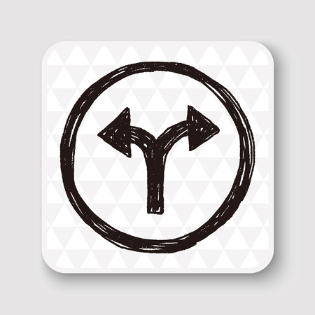 two roads: Fork sign doodle