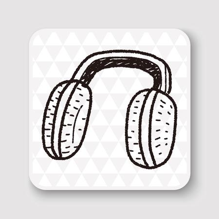 muffs: Earmuffs doodle Illustration