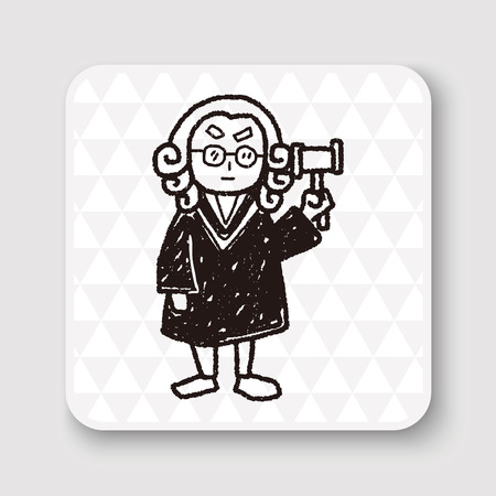 judicial: lawyer judge doodle Illustration