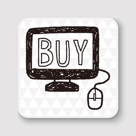 online: online shopping doodle