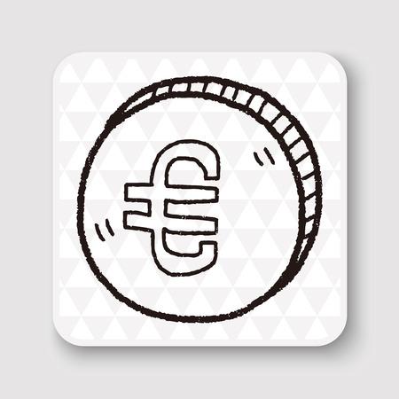 eur: doodle EUR money coin Illustration