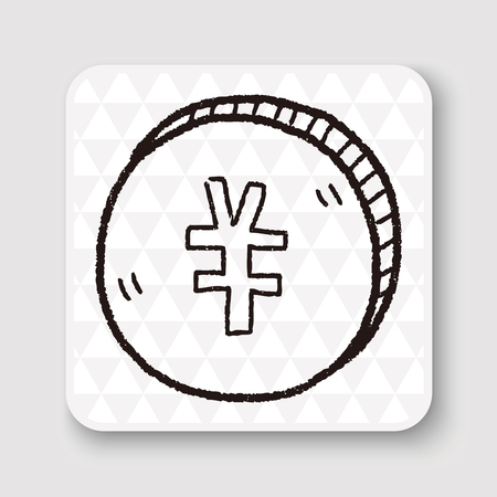 renminbi: doodle Renminbi money coin Illustration