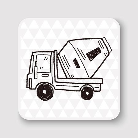 cement: Cement Truck doodle Illustration