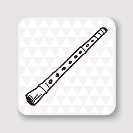 flauta: Doodle de flauta Vectores