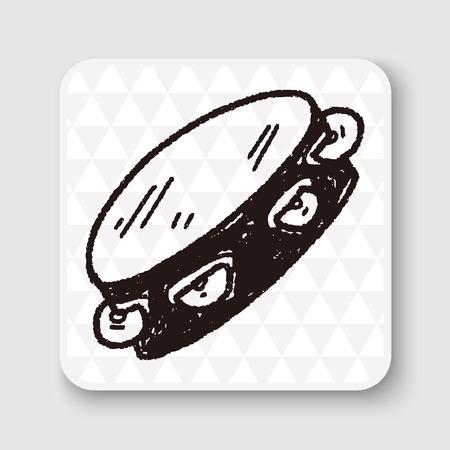 pandero: Doodle de pandereta Vectores