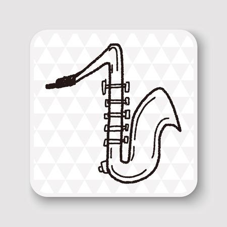 saxofón: Doodle de Saxofón Vectores