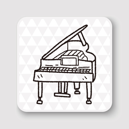 concert grand: piano doodle Illustration
