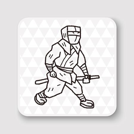ninja weapons: ninja doodle Illustration