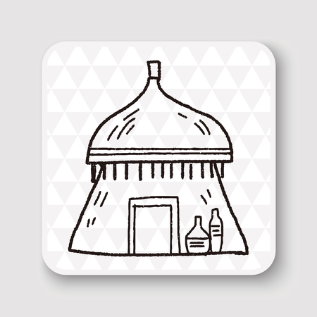 african village: African house doodle Illustration