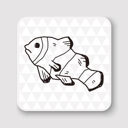 peces payaso: Doodle de Pez payaso Vectores