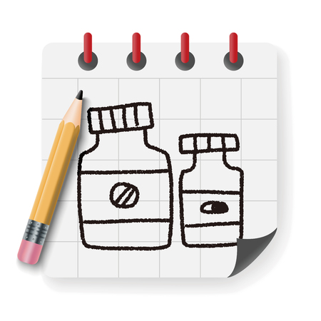 bottle of medicine: medicine bottle doodle drawing