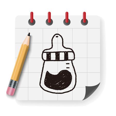 bottle feeding: feeding bottle doodle drawing Illustration