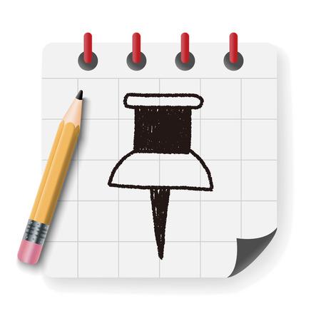 drawing pin: push pin doodle drawing Illustration