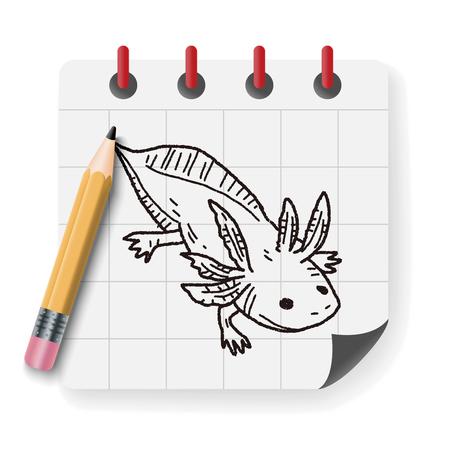 salamandra: doodle de salamandra Vectores