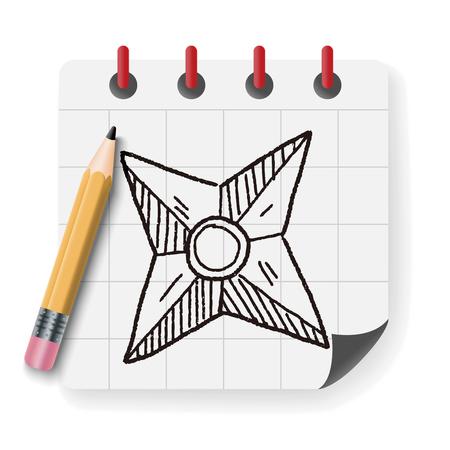 throwing knife: ninja weapon doodle Illustration