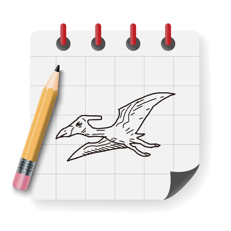 triceratops: Pterodactyl dinosaur doodle