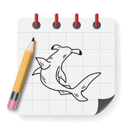 pez martillo: Hammerhead doodle de tiburón Vectores