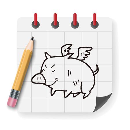 flying pig: flying pig doodle