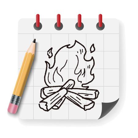 woodpile: fire doodle Illustration