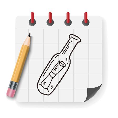 message in a bottle: bottle message doodle