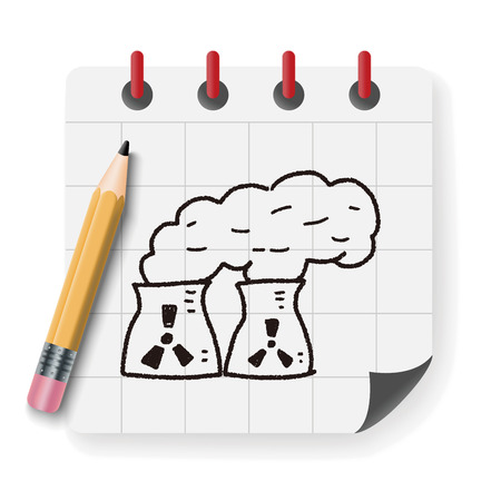 emission: Environmental protection concept; The factory do well on emission to not pollute the air and environment; doodle