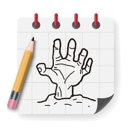 zombie hand: zombie hand doodle Illustration