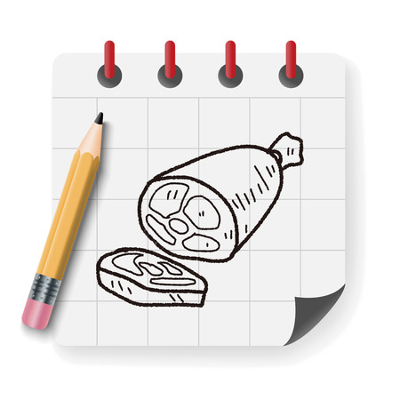 pork rib: ham doodle Illustration