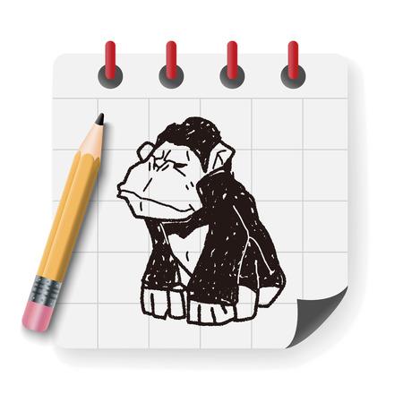 orangutan: orangutan monkey doodle Illustration