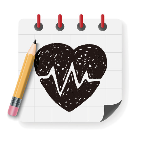 medical heart: heartbeat doodle