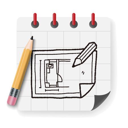 paper art projects: blueprint doodle Illustration