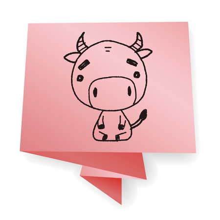 china chinese: Chinese Zodiac cow doodle drawing