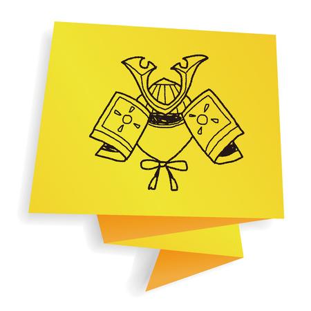ronin: samurai helmet doodle Illustration