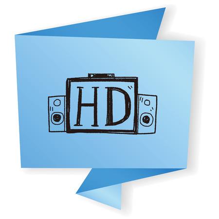 hd tv: HD TV doodle Illustration