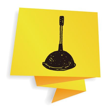 plunger: toilet plunger doodle Illustration