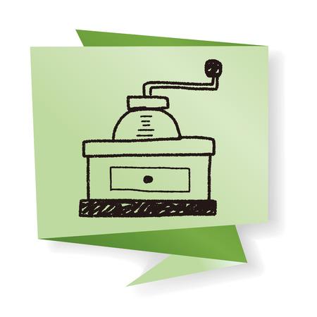 molinillo: doodle de molinillo de café Vectores