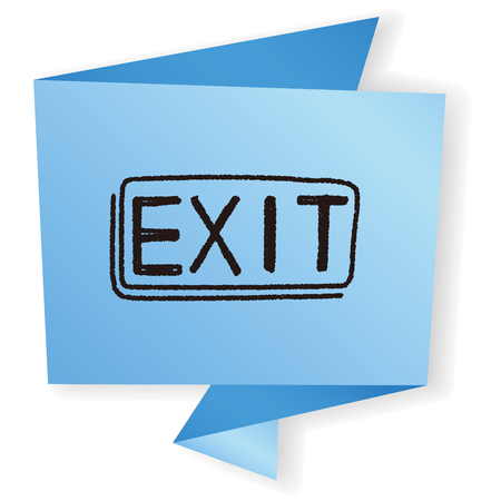 green exit emergency sign: exit doodle
