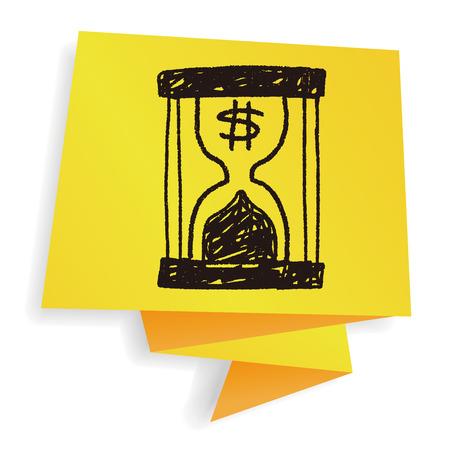 finance concept: money hourglass doodle