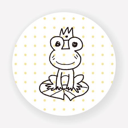 sapo principe: doodle de príncipe rana Vectores