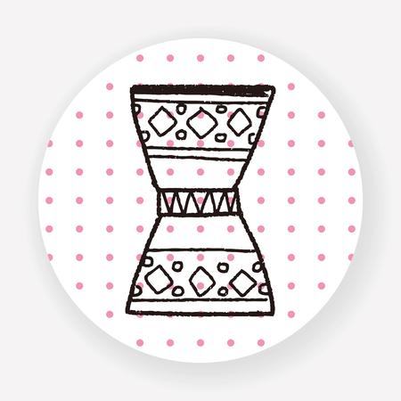 hand beats: African drum doodle Illustration