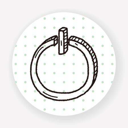 press button: power doodle Illustration