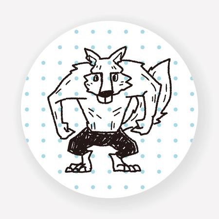 wilkołak: Werewolf doodle Ilustracja