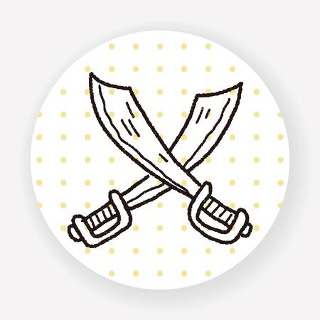 ninja ancient: knife doodle Illustration