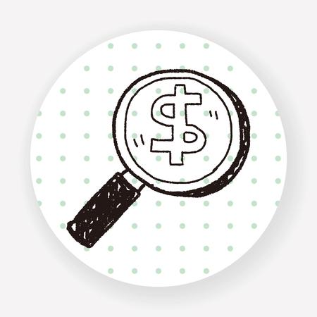 find: find money doodle Illustration