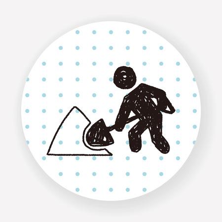 digging: Shovel doodle Illustration