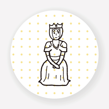 medieval woman: queen doodle Illustration