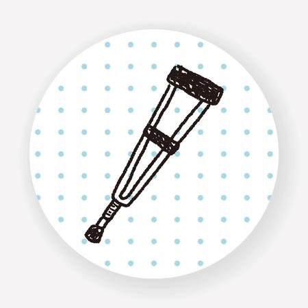 crutch: Doodle Crutch Illustration