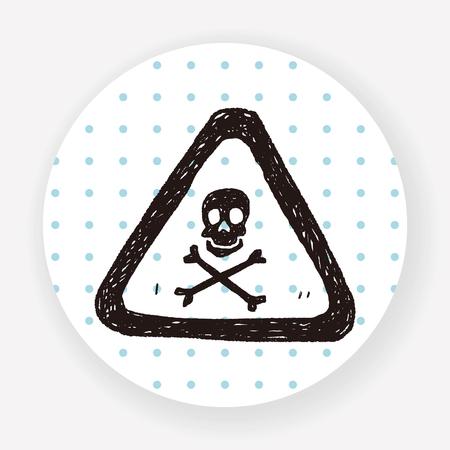 dangerous ideas: skull danger sign doodle Illustration