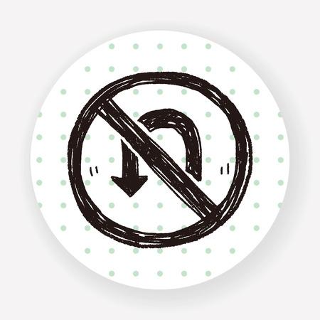 indicator board: no Turn back doodle