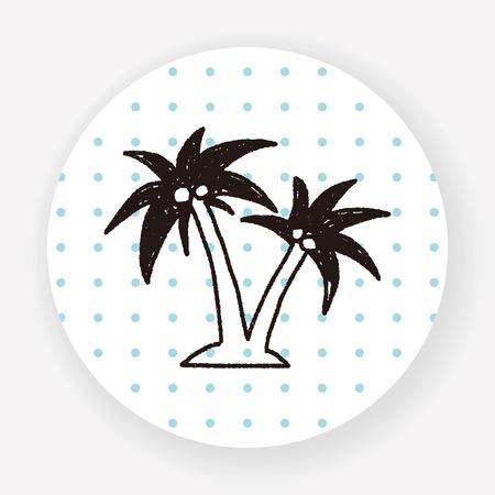 coconut trees: doodle coconut trees Illustration