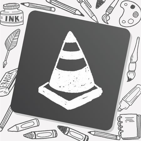 triangular: Triangular cone doodle drawing Illustration